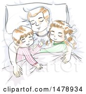 Clipart Of A Sketched Dad And Children Sleeping Royalty Free Vector Illustration