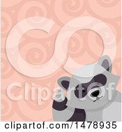 Clipart Of A Raccoon Head Over A Swirl Pattern Royalty Free Vector Illustration by BNP Design Studio