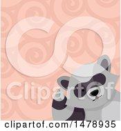 Raccoon Head Over A Swirl Pattern