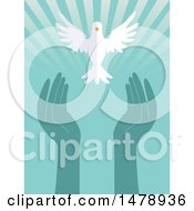 Clipart Of A White Peace Dove Flying Over Hands And Rays Royalty Free Vector Illustration