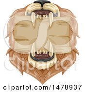 Clipart Of A Blank Sign In A Male Lions Mouth Royalty Free Vector Illustration by BNP Design Studio
