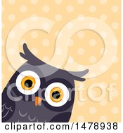 Curious Owl Head Over A Polka Dot Pattern
