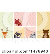 Clipart Of A Group Of Woodland Animals Over Patterns Royalty Free Vector Illustration by BNP Design Studio