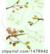 Clipart Of A Background Of Oak Branches And A Squirrel Royalty Free Vector Illustration by BNP Design Studio