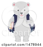 Clipart Of A Student Polar Bear Wearing A Backpack Royalty Free Vector Illustration by BNP Design Studio