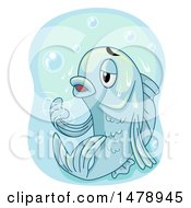 Clipart Of A Hapless Fish Frozen In Ice Royalty Free Vector Illustration