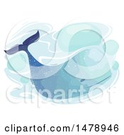 Clipart Of A Watercolor Painted Whale Royalty Free Vector Illustration