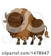 Clipart Of A Cute Bison Royalty Free Vector Illustration