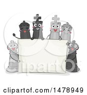 Clipart Of A Blank Sign With Chess Pieces Royalty Free Vector Illustration