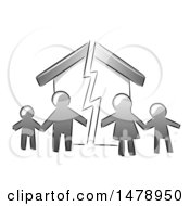 Clipart Of A Grayscale Family Over A Broken Home Royalty Free Vector Illustration