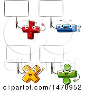 Clipart Of Addition Subtraction Division And Multiplication Math Characters Holding Blank Signs Royalty Free Vector Illustration