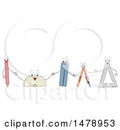 Clipart Of A Row Of Pencil Protractor Ruler Compass And Triangular Ruler Mascots Holding Hands Royalty Free Vector Illustration