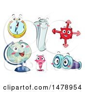Poster, Art Print Of Compass Map Globe Pin And Binocular Navigation Mascots