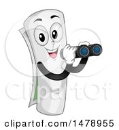 Clipart Of A Curled Up Map Mascot Using Binoculars Royalty Free Vector Illustration
