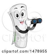 Curled Up Map Mascot Using Binoculars