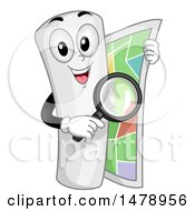 Curled Up Map Mascot Holding A Magnifying Glass And Unrolling Itself
