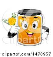 Clipart Of A Jar Mascot Holding A Marigold Royalty Free Vector Illustration by BNP Design Studio