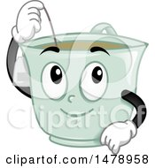Clipart Of A Tea Cup Mascot Dipping A Bag Royalty Free Vector Illustration by BNP Design Studio