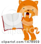 Clipart Of A Student Saber Tooth Tiger Holding An Open Book Royalty Free Vector Illustration