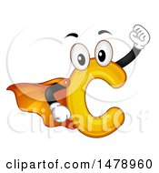 Clipart Of A Super Hero C Mascot Royalty Free Vector Illustration