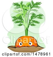 Clipart Of A Carrot Mascot Peeking From Soil Royalty Free Vector Illustration
