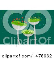 Poster, Art Print Of Flowering Plants In Metal Containers
