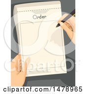 Clipart Of A Pair Of Waiter Hands Writing An Order Royalty Free Vector Illustration by BNP Design Studio