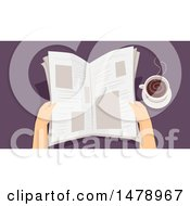 Clipart Of A Pair Of Hands Reading A Newspaper By Coffee Royalty Free Vector Illustration by BNP Design Studio