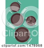 Clipart Of Frying Pans On Blue Royalty Free Vector Illustration
