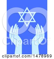 Clipart Of A Pair Of Hands And The Star Of David On Blue Royalty Free Vector Illustration