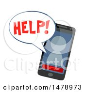 Clipart Of A Smart Phone With An Avatar Asking For Help Royalty Free Vector Illustration