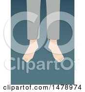 Clipart Of Legs Of A Suicide Victim Over Blue Royalty Free Vector Illustration by BNP Design Studio