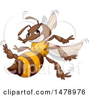 Clipart Of A Stinging Angry Bee Royalty Free Vector Illustration by BNP Design Studio