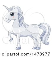 Clipart Of A Cute White Unicorn Walking Royalty Free Vector Illustration by BNP Design Studio