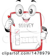 Clipart Of A Survey Mascot Holding A Pen Royalty Free Vector Illustration