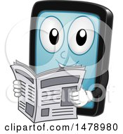 Clipart Of A Smart Phone Or Tablet Mascot Reading A Newspaper Royalty Free Vector Illustration by BNP Design Studio