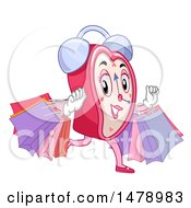 Clipart Of A Feminine Heart Alarm Clock Mascot Running With Shopping Bags Royalty Free Vector Illustration by BNP Design Studio