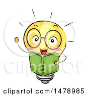 Clipart Of A Light Bulb Mascot Reading A Book Royalty Free Vector Illustration