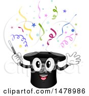 Clipart Of A Magic Hat Mascot With Confetti Royalty Free Vector Illustration