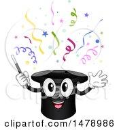 Magic Hat Mascot With Confetti