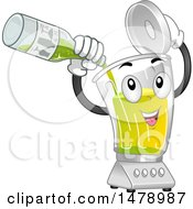 Clipart Of A Blender Mascot Pouring In Lime Juice For A Mocktail Royalty Free Vector Illustration
