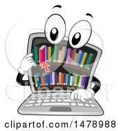 Clipart Of A Laptop Computer Mascot Grabbing A Book From A Library On Screen Royalty Free Vector Illustration by BNP Design Studio