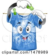Clipart Of A Blue Tie Dye Shirt Pinning Itself To A Clothesline Royalty Free Vector Illustration