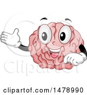 Clipart Of A Happy Brain Mascot Presenting Royalty Free Vector Illustration