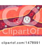 Clipart Of A Vein With Happy White And Red Blood Cells Royalty Free Vector Illustration by BNP Design Studio