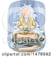 Buddhist Man Meditating In A Waterfall