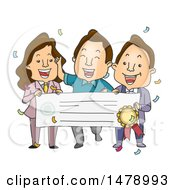Clipart Of A Male Winner And Presenters Holding Up A Giant Check Royalty Free Vector Illustration