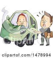 Clipart Of A Driving Instructor Lecturing A Student Driver After An Accident Royalty Free Vector Illustration