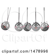 Clipart Of A Group Of Happy Newtons Cradle Balls Swinging Royalty Free Vector Illustration by BNP Design Studio