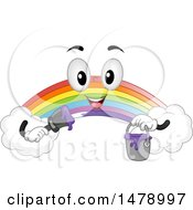 Rainbow Mascot Holding A Purple Paint Can And Brush